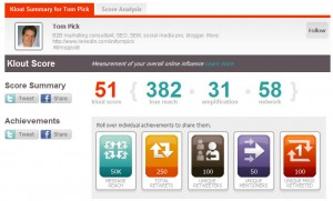 Klout Score for TomPick