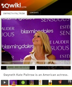 Qwiki Search for Gwyneth Paltrow
