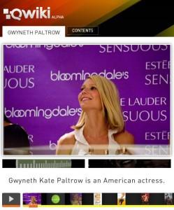 Qwiki Search for Gwyneth Paltrow