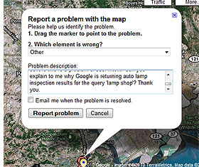 Reporting an Error on Google Maps