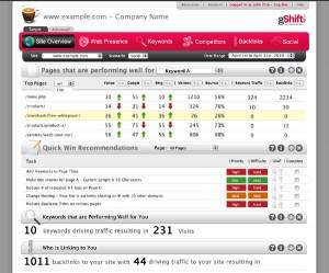 gShift Labs Web Presence Dashboard