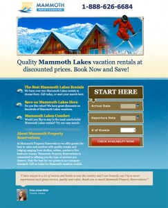 Mammoth Lakes Landing Page Example