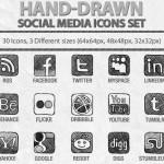 Hand-drawn social media icon set