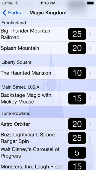 App showing wait times for rides in the Magic Kingdom