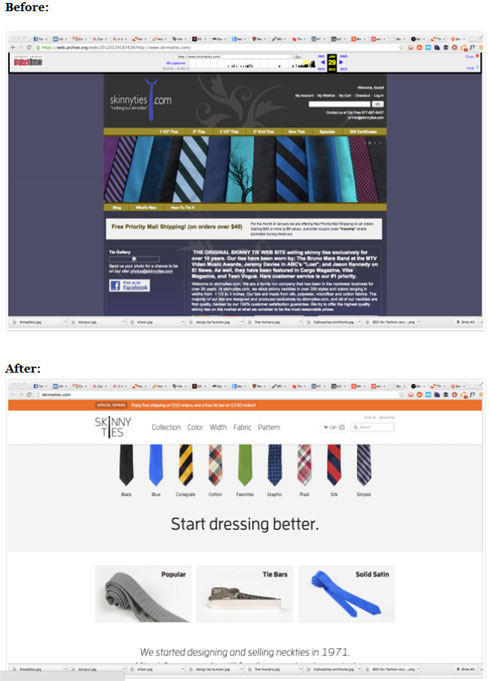 Skinny Ties website - before and after
