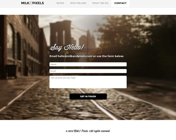 Milk & Pixels - Contact Page Example