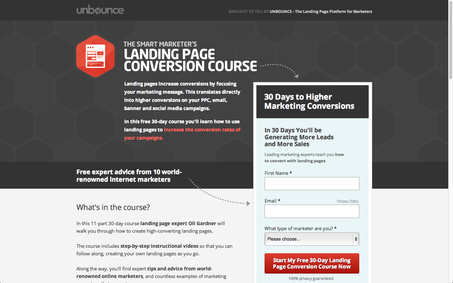 Converstion Rate Optimization - Unbounce Page Example