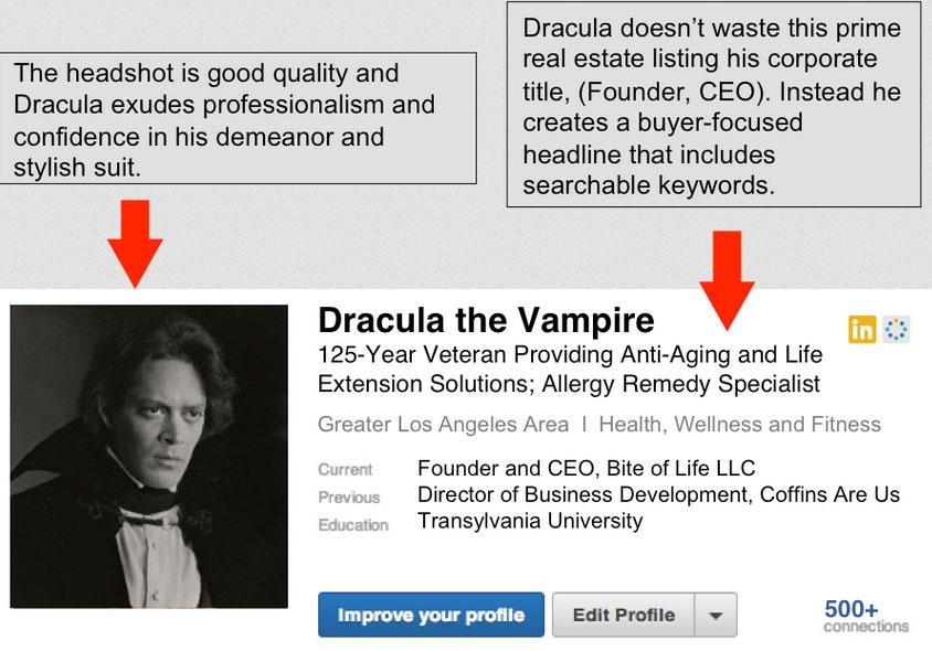 Dracula's LinkedIn profile