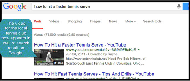 Video search result example for tennis