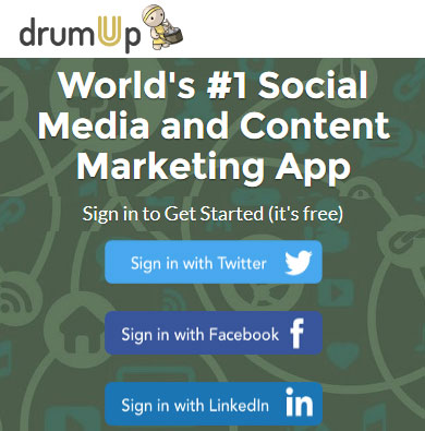 Social media management and content curation - DrumUp