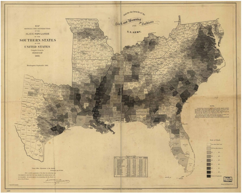 Civil War era map of the Southern U.S. states