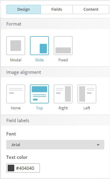 MailChimp list builder pop-up form design tool