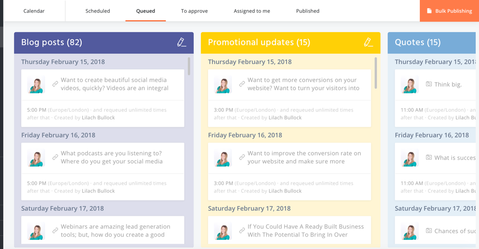 Social media scheduling tool - Agorapulse bulk updates