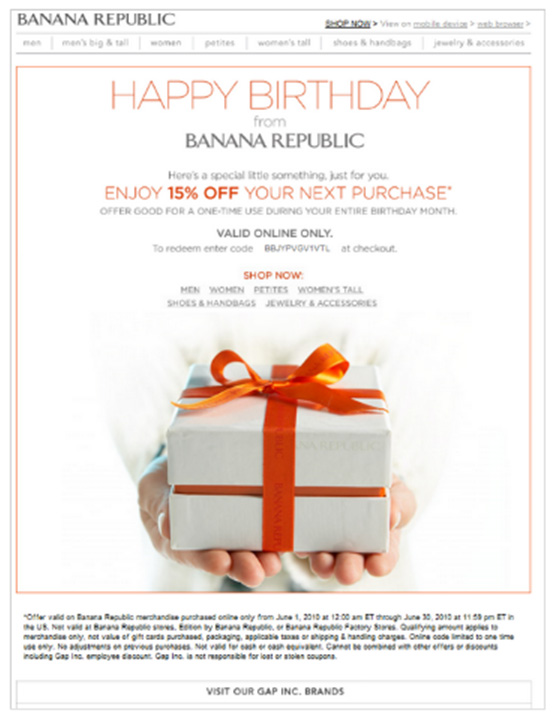 Example of email marketing personalization