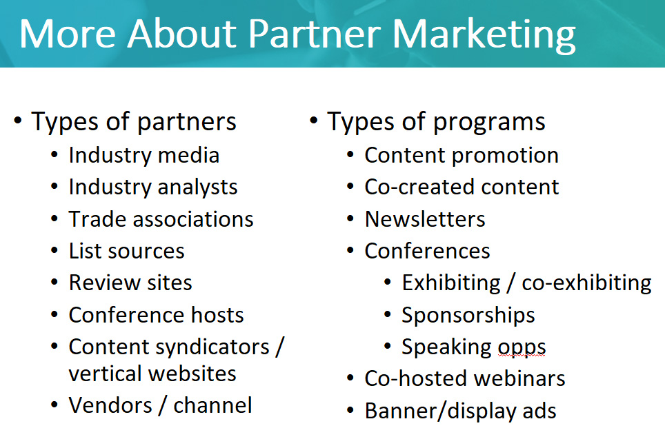 Types of B2B partner marketing programs