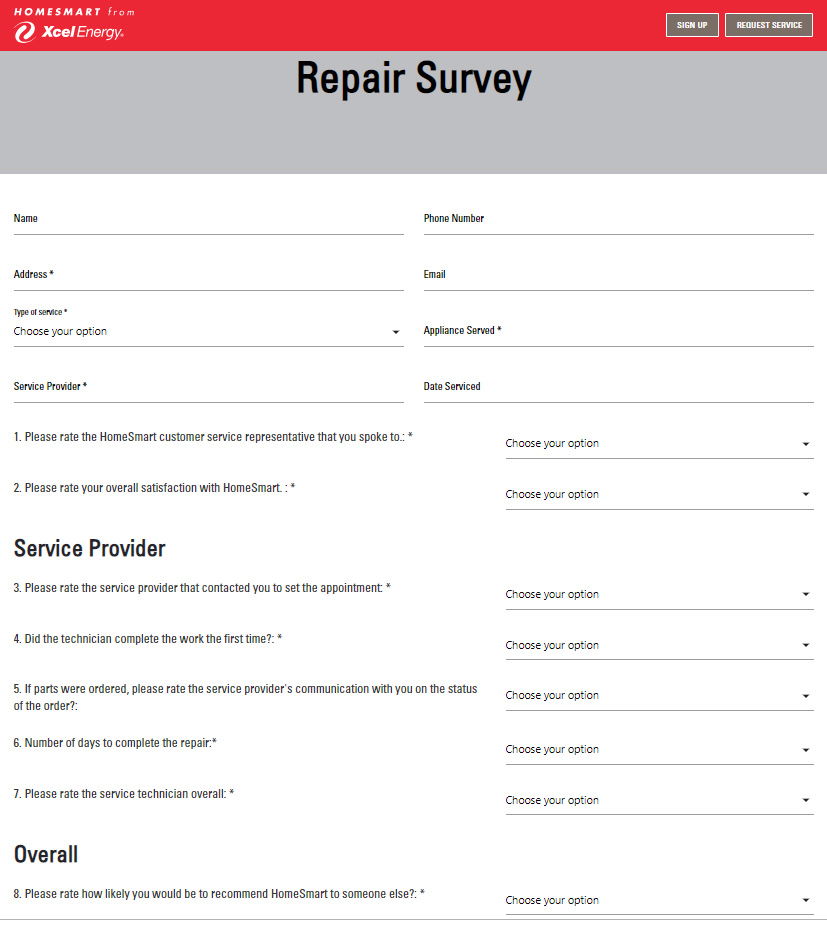 Bad service survey form