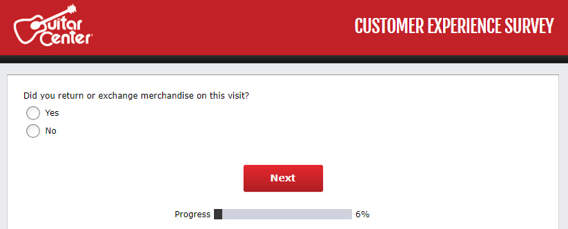 Guitar Center customer survey - screen 3