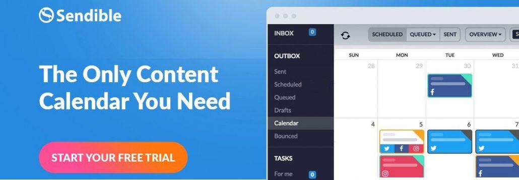 Social content scheduling tool - Sendible