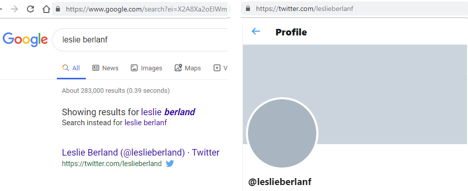 Searching for Leslie Berland on Twitter versus Google