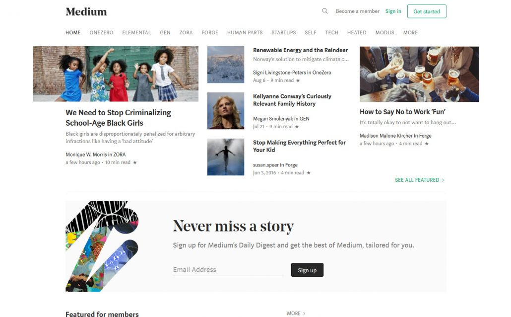 Medium content publishing platform