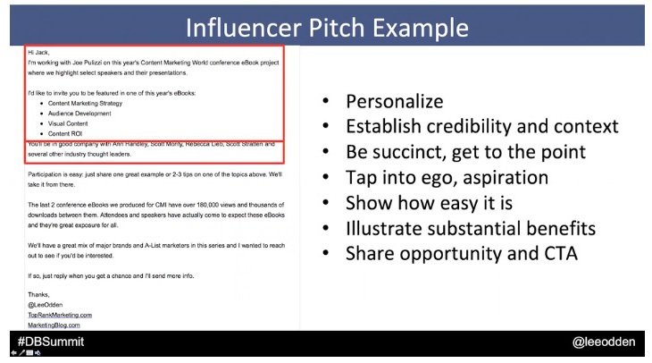Influencer outreach email outline