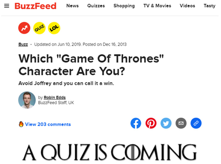 Interactive content example - BuzzFeed Game of Thrones quiz