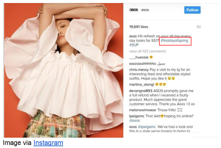 How ASOS uses an intuitive hashtag to launch their spring collection