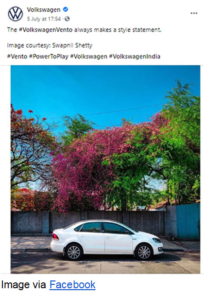 Example of Volkswagen marketing on Facebook