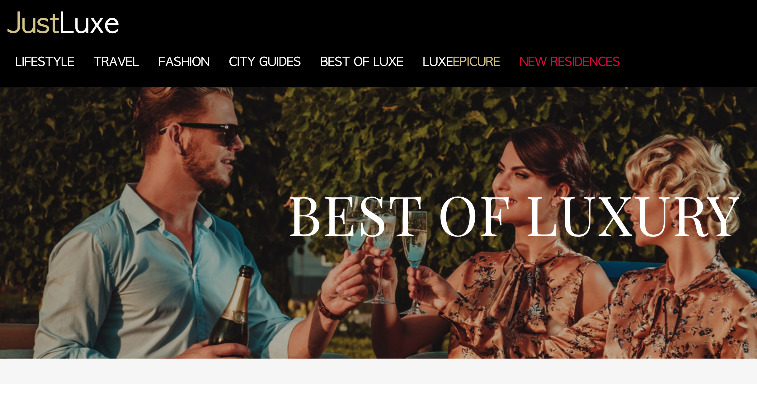 JustLuxe landing page example