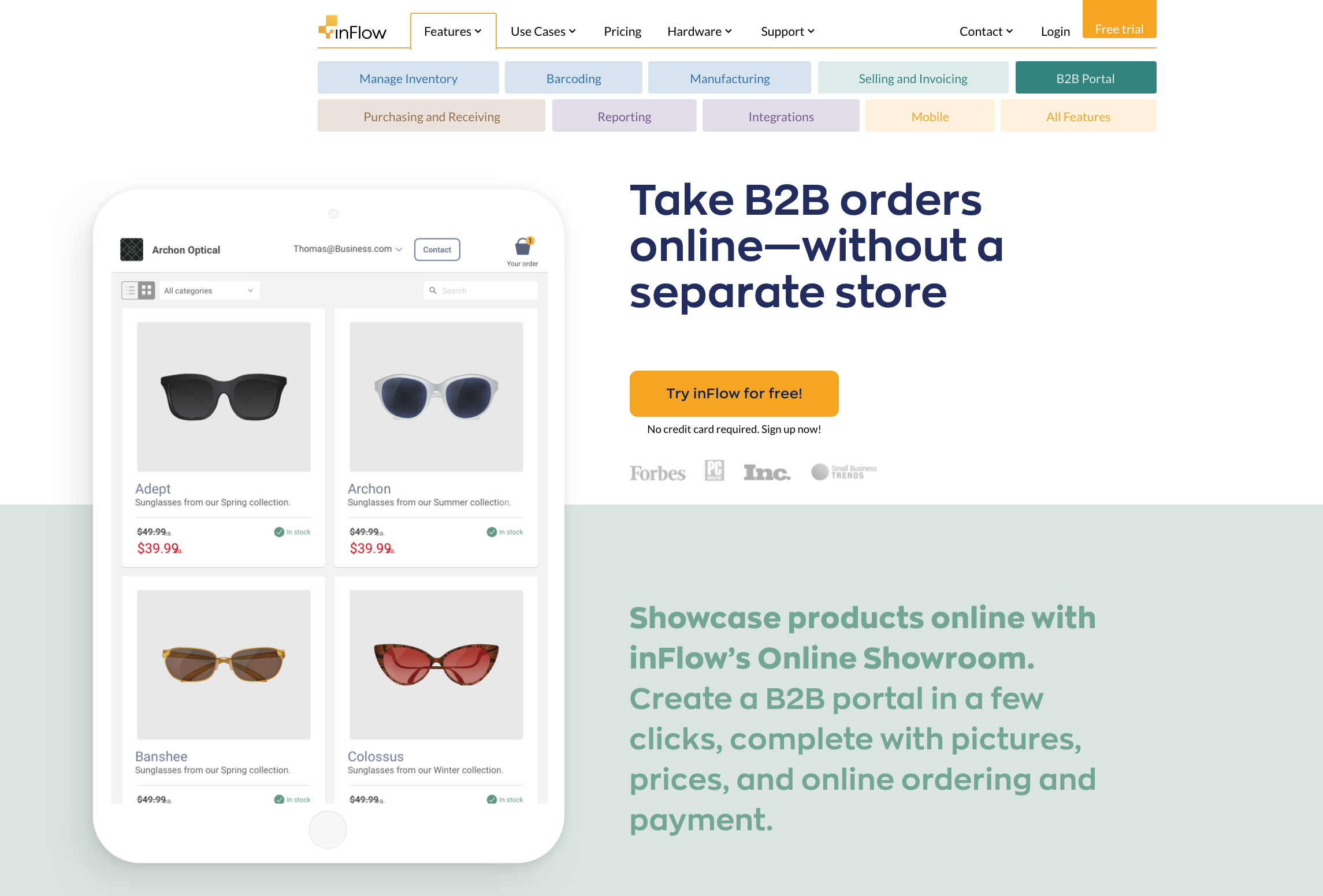 In Flow landing page example