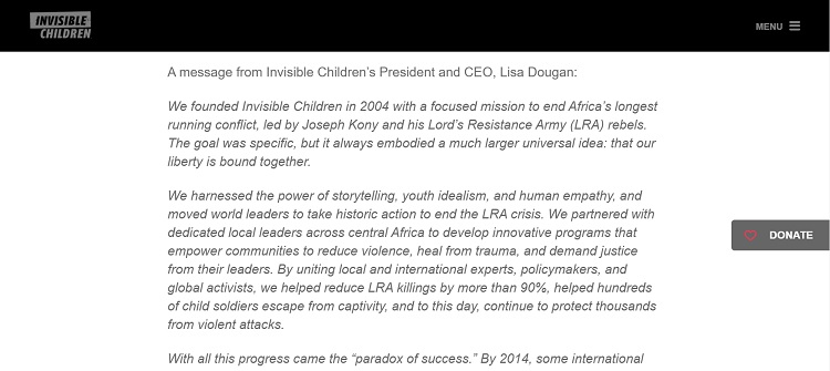 Invisible Children utilizes a blog post to show how their mission statement changed.