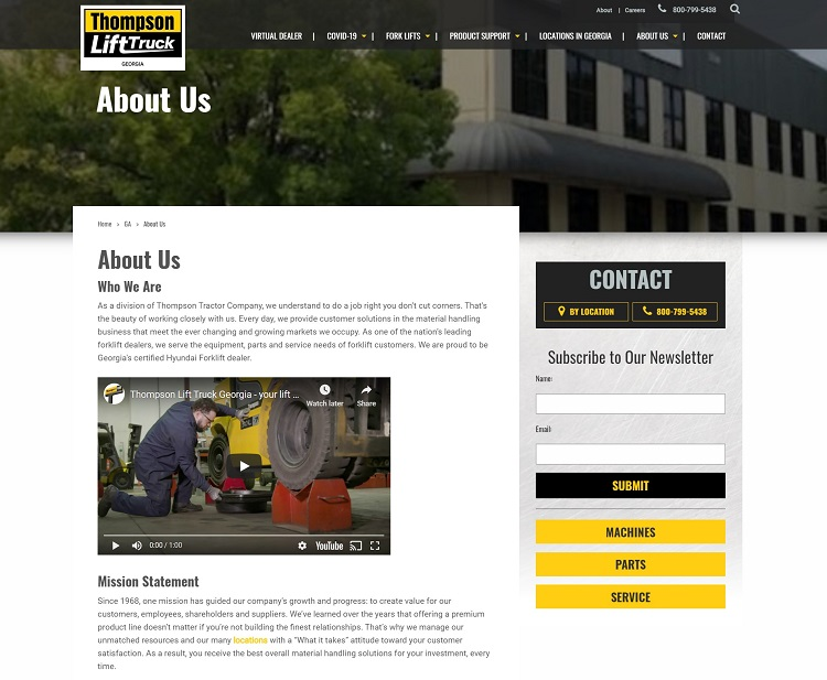 Thompson Lift Truck shares their mission statement via their About page