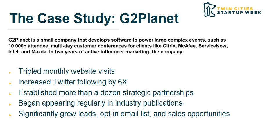 B2B influencer marketing case study G2Planet