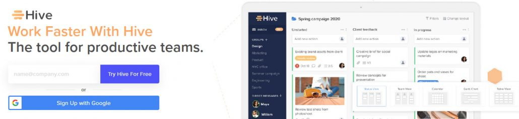 Work Faster With Hive - the tool for productive teams