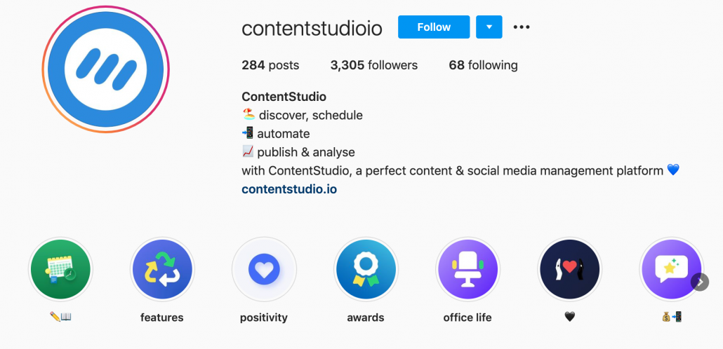 Instagram Story Highlights example from Customer Studio