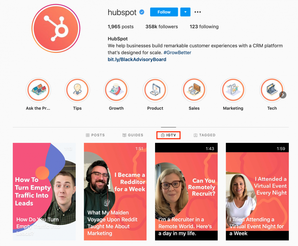 HubSpot expert video examples from Instagram