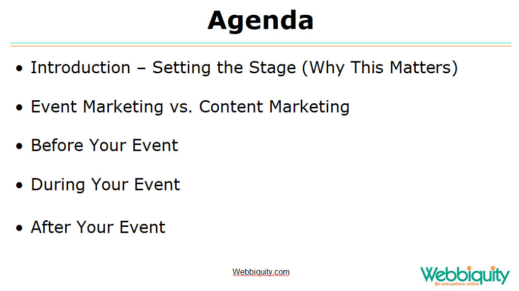 Event and content marketing - setting the stage