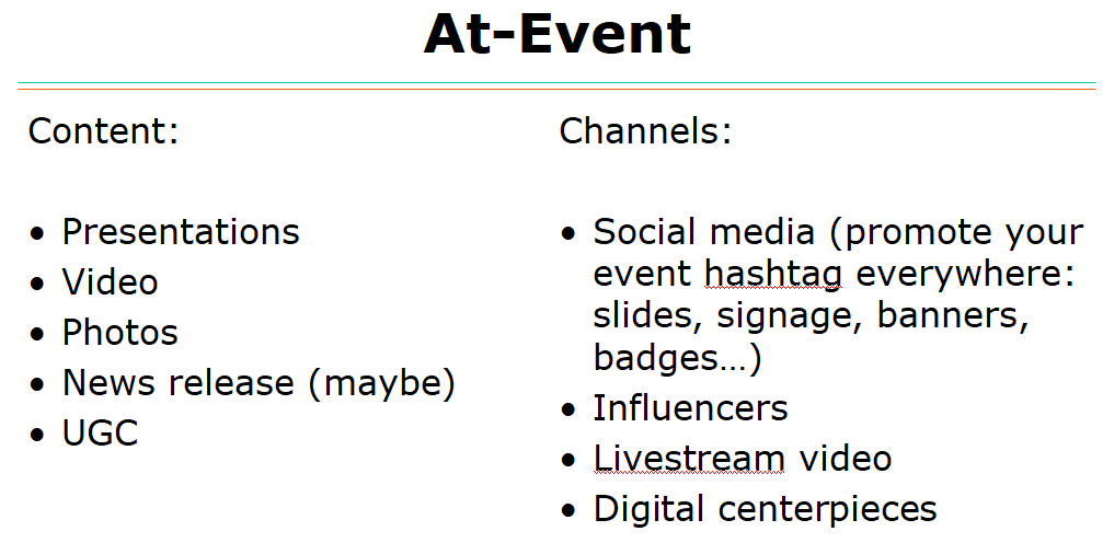 Content and types and channels to use during live events