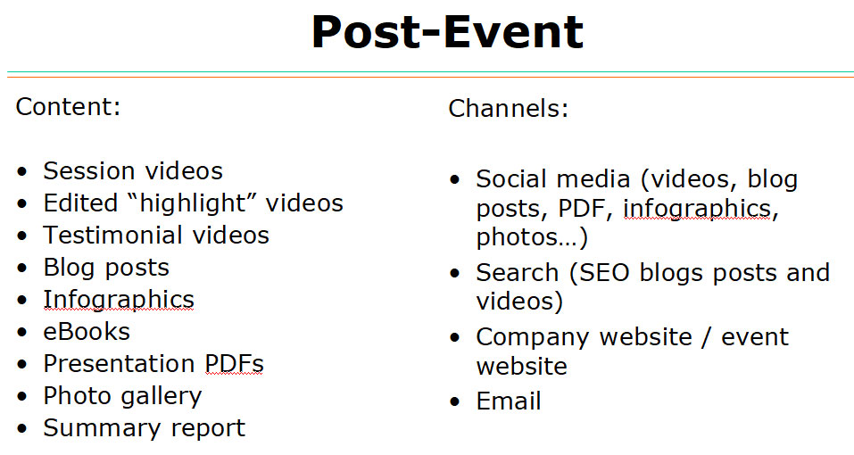 Content types and channels to use after your event