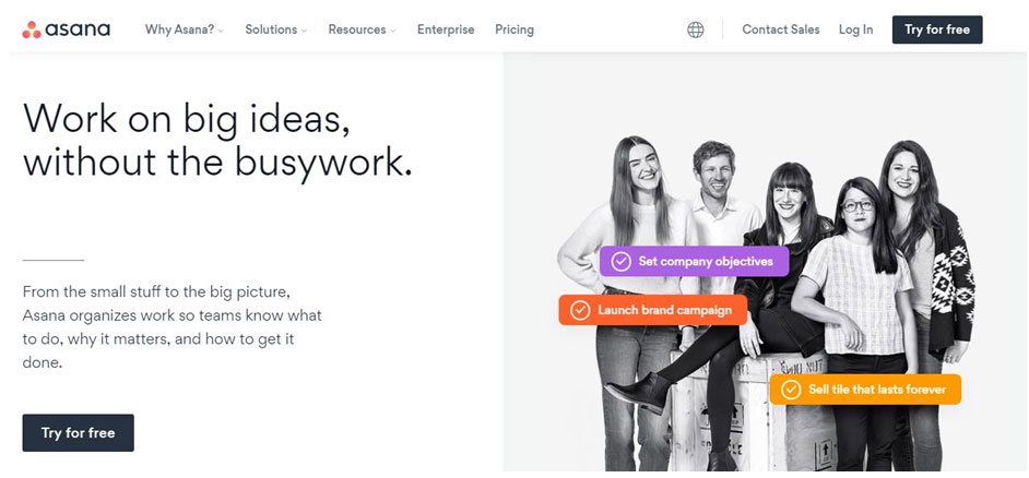How Asana uses real people on its home page
