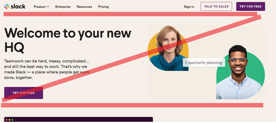 How Slack uses the Z pattern in web page design