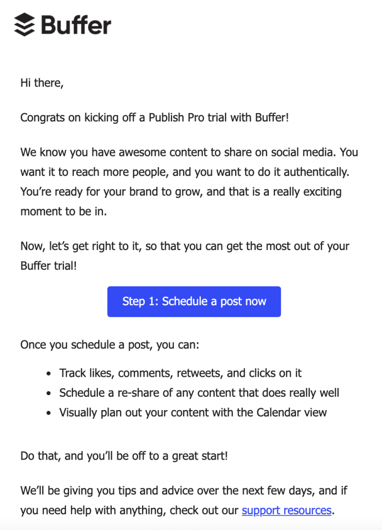 Buffer onboarding email example