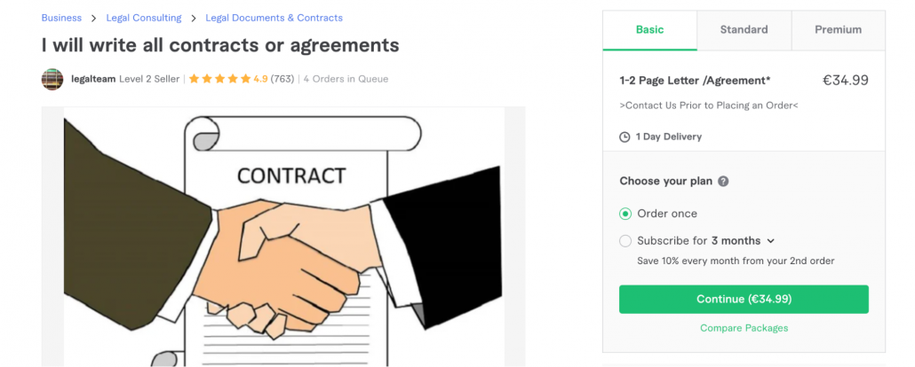 Fiverr contract example