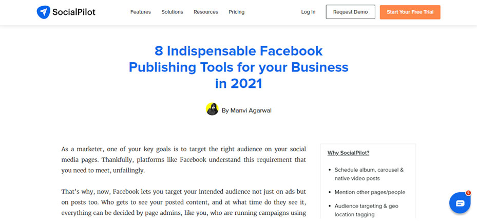 SocialPilot Facebook publishing tools example