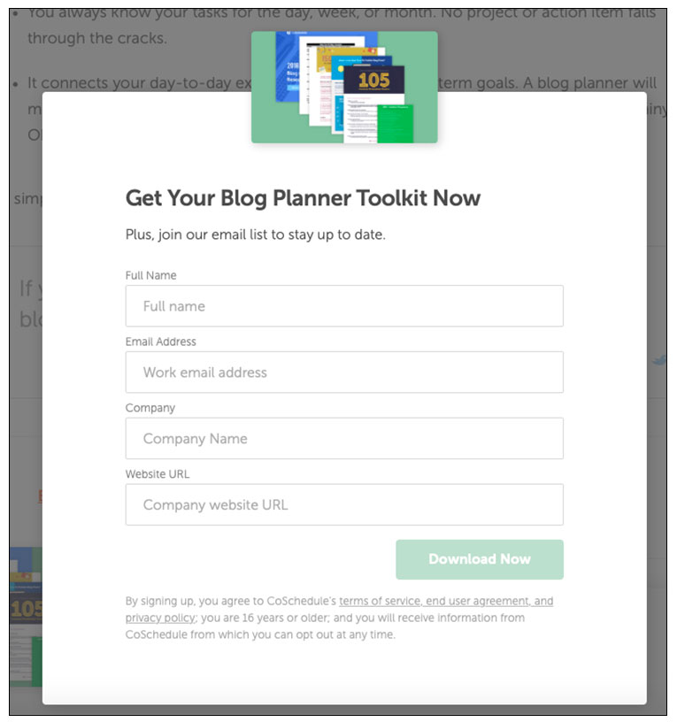 CoSchedule free planner offer