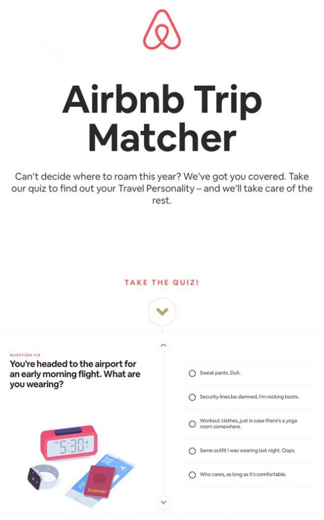 Lead magnet example Airbnb quiz